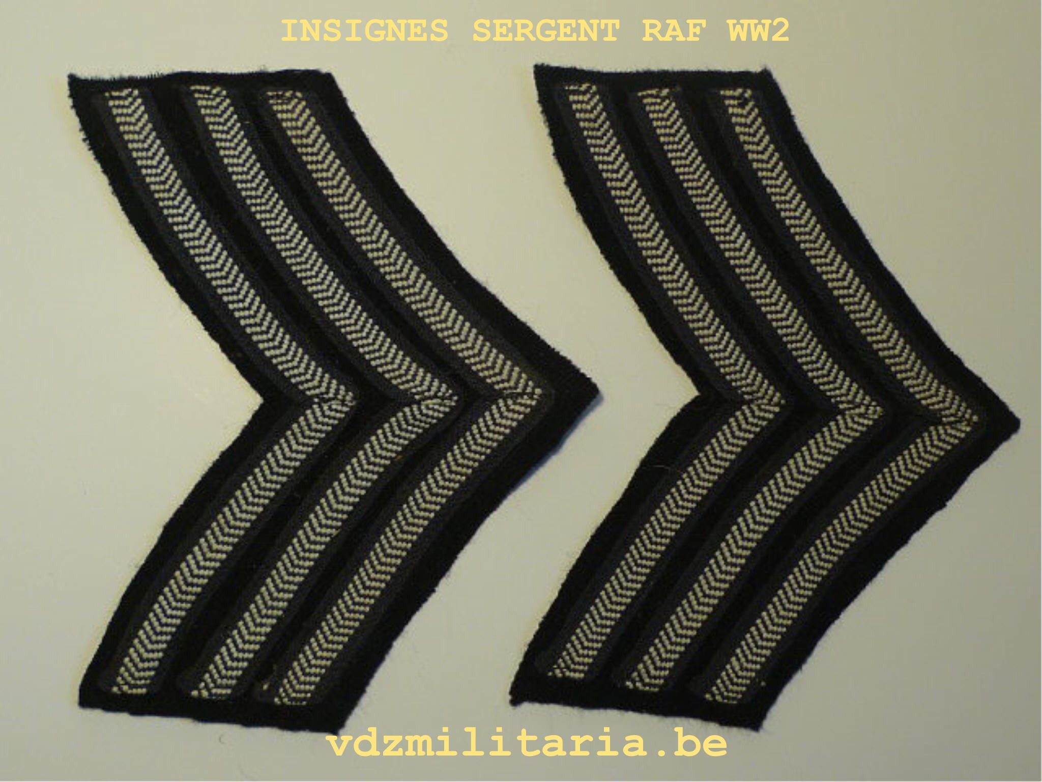 RAF SERGEANT'S CLOTH INSINGNIA WW2 - VDZ-Militaria b v b a