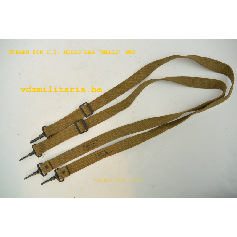 PAIR OF STRAPS FOR U.S. MEDIC BAG WW2, MFG. BY MILLS